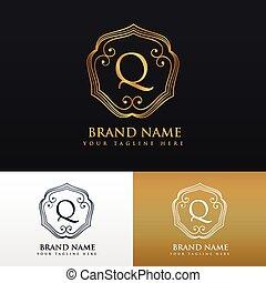 monogram, スタイル, q, 優雅である, デザイン, 手紙, ロゴ