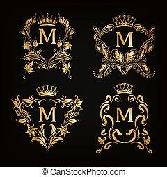 monogram, ロゴ, セット