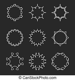 monogram, 集合, elements., 框架, mockup, 彙整, 設計, 稀薄, 樣板, 植物, 行家, 線, 徽章, 輪