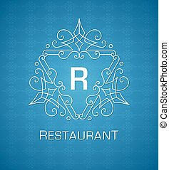 monogram, azul, elementos, modelo, ornamento, calligraphic, elegante, flourishes, fundo, logotipo