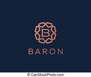 monogram, b betű, jutalom, ékszerek, ikon, logotype., keret,...