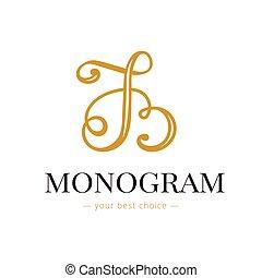 monogram, b, lettered, kleiderladen, hand, elegant, vektor, ...