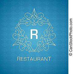 monogram, blaues, elemente, schablone, verzierung, calligraphic, elegant, flourishes, hintergrund, logo