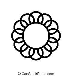 monogram, blomst, premium, udkast, logotype., ramme, symbol., vektor, sort, logo, design., grænse, tegn., ikon