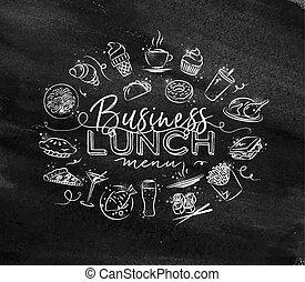 monogram, déjeuner, craie, business