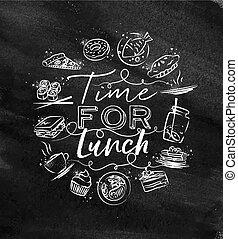 monogram, déjeuner, craie, temps