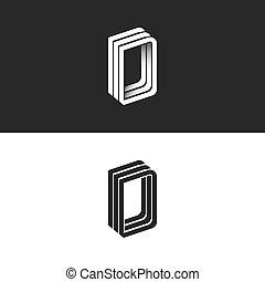 monogram, ddd, isometric, embleem, d, vorm, moderne, lijnen, typografie, overlapping, vorm, ontwerp, mager, brief, logo, geometrisch, 3d, element, parallel, perspectief