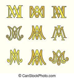 monogram, de, avenida maria, símbolos, set., religioso, católico, signs.