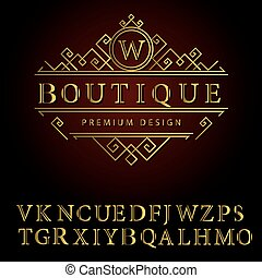Monogram design elements, English letters. Elegant line art logo . Business sign, identity for Restaurant, Royalty, Boutique, Cafe, Hotel, Heraldic, Jewelry, Fashion, Wine. Vector illustration