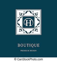 Monogram design elements, graceful template. Elegant line art logo design. Letter emblem H. Retro Vintage Insignia or Logotype. Business sign, identity, label, badge, Cafe, Hotel. Vector illustration