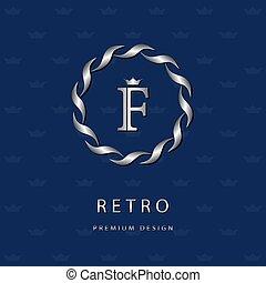 Monogram design elements, graceful template. Elegant line art logo . Letter emblem F. Retro Vintage Insignia or Logotype. Business sign, identity, label, badge, Cafe, Hotel. Vector illustration