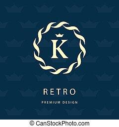Monogram design elements, graceful template. Elegant line art logo . Letter emblem K. Retro Vintage Insignia or Logotype. Business sign, identity, label, badge, Cafe, Hotel. Vector illustration