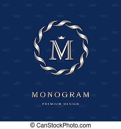 Monogram design elements, graceful template. Elegant line art logo . Letter emblem M. Retro Vintage Insignia or Logotype. Business sign, identity, label, badge, Cafe, Hotel. Vector illustration