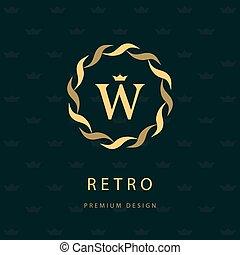 Monogram design elements, graceful template. Elegant line art logo . Letter emblem W. Retro Vintage Insignia or Logotype. Business sign, identity, label, badge, Cafe, Hotel. Vector illustration
