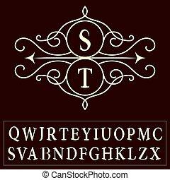 Monogram design elements, graceful template. Letter S,T, M, R, E, B, C, W, Q, Y, I, O, P, D, F, G, H, K, L, Z, X, V, N, Elegant line art logo design. Alphabet. Emblem. Vintage frame. Vector illustration
