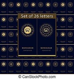 Monogram design elements, graceful template. Set of Letters emblem. Calligraphic elegant line art logo design for business cards, Royalty, Boutique, Cafe, Hotel, Heraldic, Jewelry. Vector illustration
