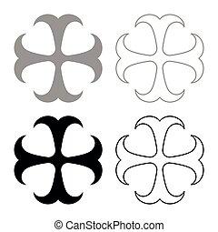 monogram, dokonstantinovsky, style, ensemble, plat, couleur, apôtre, symbole, croix, illustration, signe, vecteur, noir, ancre, image religieuse, espoir, icône