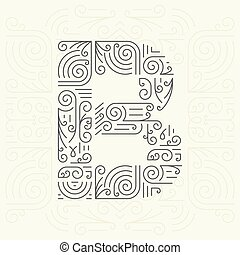 monogram, dourado, estilo, b, letra, badges., mono, etiquetas, linha, slogan, texto, seu, desenho, modelo, elemento, advertising., geomã©´ricas, fonte, ou