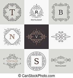 monogram, elemente, verzierung, calligraphic, elegant, flourishes, schablone, logo