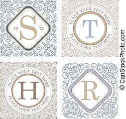 monogram, elementos, ornamento, calligraphic, elegante, flourishes, modelo, logotipo