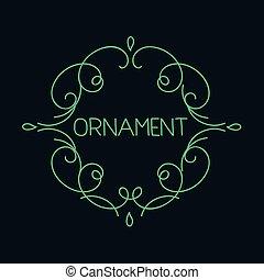 monogram, embléma, lineáris, elvont, kéz, finom, sablon, húzott, jel, calligraphic, áttekintés