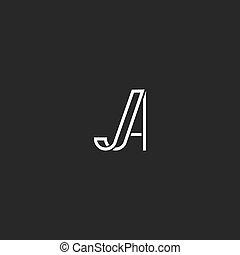 monogram, emblema, lettres, elegante, simples, inicial,...