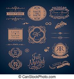 monogram, estilo, vindima, casório, bordas, borda