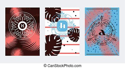 Monogram first or last name letters initial, vector ...