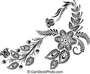monogram., floral, majuscule, lettre
