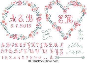monogram, floreale, vettore, cornici