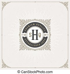 monogram, flourishes, logo.