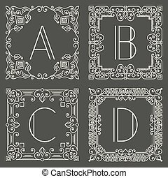monogram, grigio, set, logos, scuro, fondo., vettore, disegno, lettera, capitale, floreale, geometrico, element.