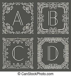 monogram, gris, ensemble, logos, sombre, arrière-plan., vecteur, conception, lettre, capital, floral, géométrique, element.