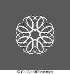 monogram, hjärtan, in, den, bilda, av, minimalist, på, a, grå fond, abstrakt, stil, lägenhet
