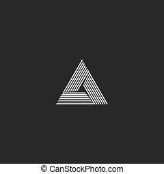 monogram, hoek, oneindigheid, illusie, isometric, logo, delta, overlapping, convergeren, oneindig, vorm, hipster, technologie, scherp, innovatie, pictogram, embleem, lijn, geometrisch, driehoek