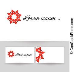 monogram, illustration., affari, vettore, disegno, floreale, logotipo, template., scheda