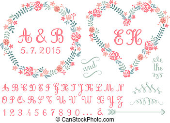 monogram in floral frames, vector - monogram in floral...