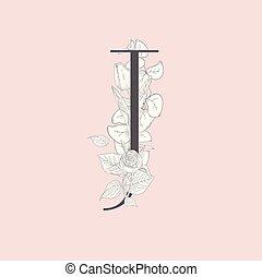 monogram, j, élégant, vecteur, fleurir, floral, logo