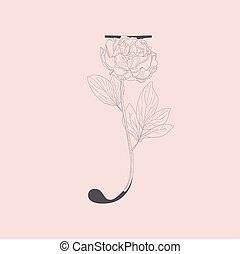 monogram, j, initiale, vecteur, fleurir, floral, logo