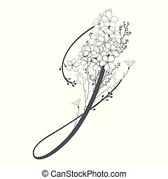 monogram, j, main, vecteur, dessiné, floral, logo