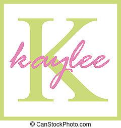 monogram, kaylee, naam