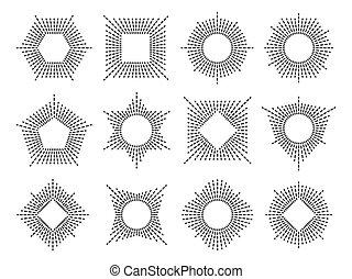 monogram, ligne, ensemble, cadre