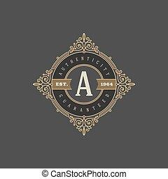 Monogram logo template with flourishes calligraphic elegant...