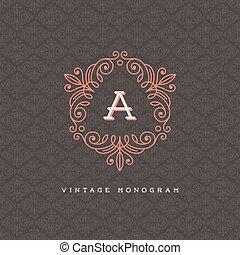 Monogram logo template - Vector vintage monogram logo...