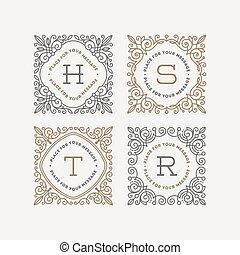 Monogram logo template - Set of monogram logo template with...