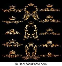 Monogram Logos Set - Set of gold monogram for graphic design...