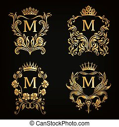 monogram, logos, set