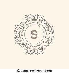 monogram, logotipo, lusso, sagoma