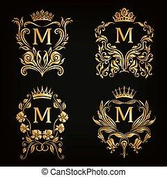 monogram, logotipos, conjunto