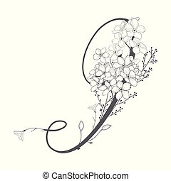 monogram, main, vecteur, dessiné, floral, logo
